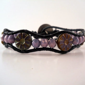 Amethyst Leather Wrap Bracelet Friendship Stack by PZWDesign
