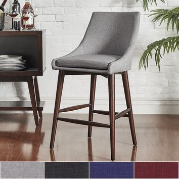 MID-CENTURY LIVING Sasha Espresso Barrel Back Counter Stools (Set of 2) | Overstock.com Shopping - The Best Deals on Dining Chairs