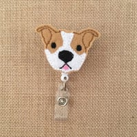 Pit Bull-Badge Holder-Dog Badge Holder-Pit Bull Badge-Cute Badge Holder-Dog Id Badge-Vet Badge-Nurse Gift-Nurse Badge Holder-RN Badge Reel