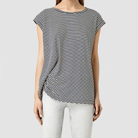 ALLSAINTS US: Womens Moon Bar Tee (CHALK WHT/INK BLUE)