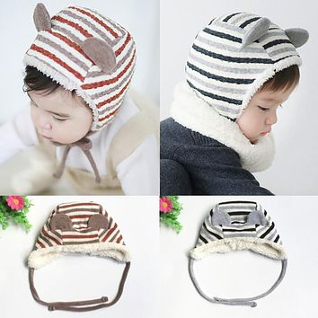 New Winter Warm Baby Hats Skullies Super Soft Striped Berber Fleece Caps Infant Kids Boys Girls Ear Protection Hats Beanies Caps