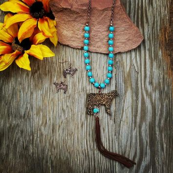Long Turquoise Steer Necklace
