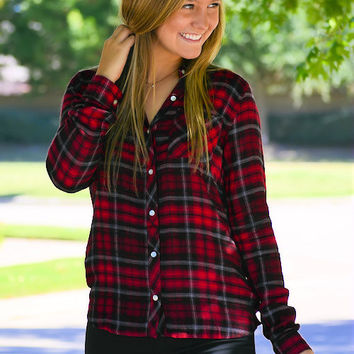 Plaid Button-Up Blouse-Red/Black