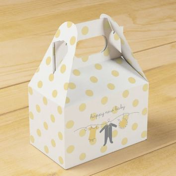 Welcome Baby Y&G- Happy New Baby Gable Box White Favor Box