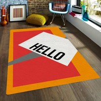 Hello rug - Affordable area rugs - Dorm rugs - Modern Area Rug -Decorative Rugs