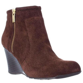 Kenneth Cole REACTION Tell Lilly Pad Wedge Ankle Boots, Cocoa, 5.5 US / 35.5 EU