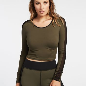 Michi Bolt Crop Top - Olive