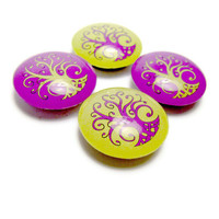 Tree of Life Magnet Glass Fridge Magnet Set of 4 Purple and Lime Green