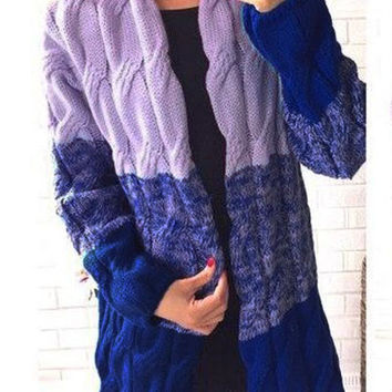 Purple Blue Long Sleeve Knit Cardigan