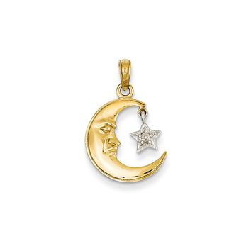 14k Yellow and White Gold Moon Face and Dangling Star Pendant