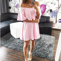 Slash Collar Flounced Layered Mini Dress