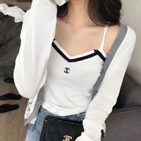 """Chanel"" Women Casual Fashion Knit Multicolor V-Neck Strap Vest Long Sleeve Cardigan Coat Set Two-Piece"