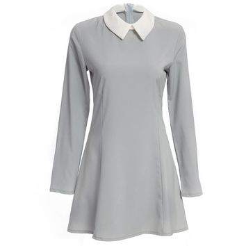 Peter Pan Collar Long Sleeve Color Block A-Line Women Mini Dress
