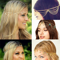 2015 New Beach Multi Layer Metal Gold Plated Head Chain Hair Jewelry Tassel Pearl Leaves Bindi hair accesories Boho Headband