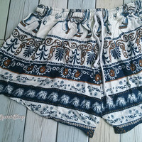 Blue Shorts Elephant Printed Rayon Boho Hobo Beach Hippie Clothing Aztec Ethnic Bohemian Ikat Patterns Style Unique For beach Summer Comfy