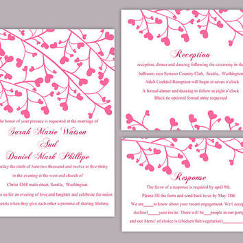 DIY Wedding Invitation Template Set Editable Word File Instant Download Printable Invitation Pink Wedding Invitation Heart Invitation