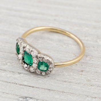 Three Stone Diamond and Emerald Engagement Ring | Erstwhile Jewelry Co.