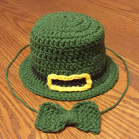 Leprechaun Hat, Irish Holiday, St Paddy's Day, Luck of the Irish, Wearing of the green, Irish Cap, Irish Baby outfit, Newborn Hat and Tie