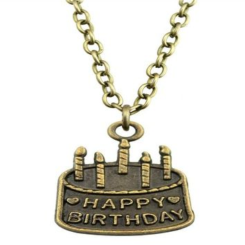 Birthday Cake Pendant Link Chain Necklace For Women