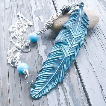 Native American Feather Necklace - Tribal Necklace - Turquoise Necklace - Navajo Necklace - Feather Neckace - Beaded Necklace