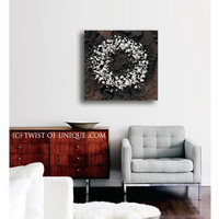 White Enso Industrial Abstract painting / ORIGINAL 1 panel (20 Inches x 20 Inches) Circle Wall Art / Large Enso/ black, brown, white
