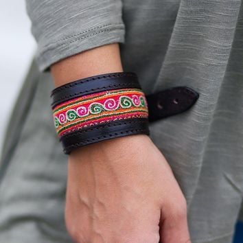 Vintage Hmong Fabric and Genuine Leather Bracelet