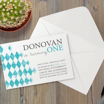 Instant Download - Argyle Aqua Blue Teal Diamond Vintage Pattern Shabby Cottage Chic Event Party Invitation Template