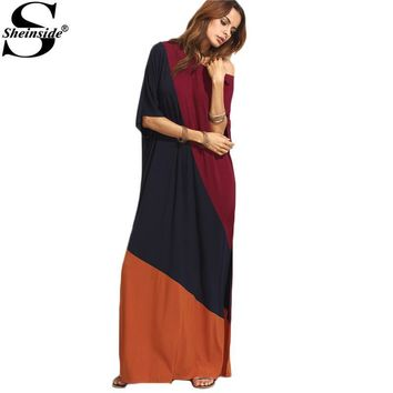 Sheinside Color Block Split Side Maxi Dress Women Summer Style Multicolor Round Neck Half Sleeve Long Dress