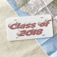 Class of 2018 3D License Plate, Pink License Plate