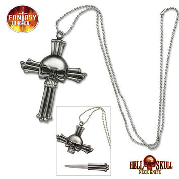 Hell Skull Cross Fantasy Necklace Knife