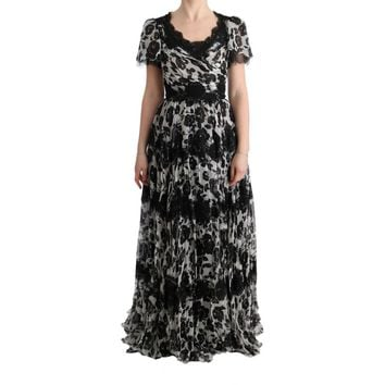 Dolce & Gabbana Black White Floral Lace Shift Dress