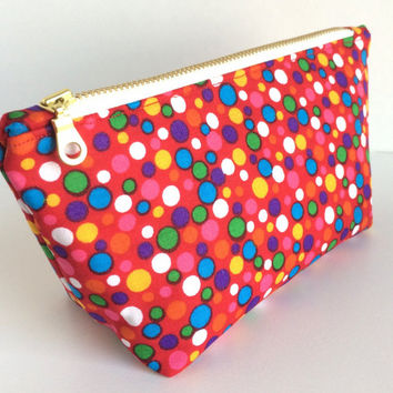 Red Makeup Bag, Small Cosmetic Bag, Red Zipper Pouch, Small Red Bag, Small Planner Pouch, Polka Dot Makeup Bag, Polka Dot Pouch