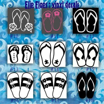 FLIP FLOPS vinyl decals - 10-18 - car window stickers - custom vinyl stickers - wall decals - flip flops - monogram stickers