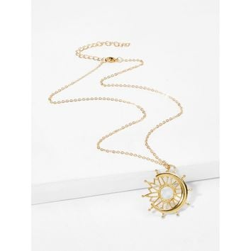Moon & Sun Design Pendant Necklace