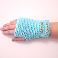 Crochet Fingerless Gloves, Blue Gloves, Adult fingerless gloves, Wrist warmer, Winter gloves, winter gifts, For her