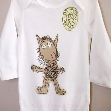 Werewolf Howling at the Moon Bodysuit Cute Halloween OnePiece Toddler Baby bodysuit Childs Drawing Long Sleeve