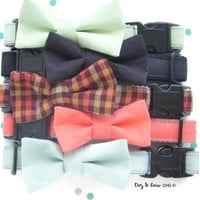 Lime, Black, Fall Plaid, Melon, & Mint Dog Collar with Removable Bow Tie