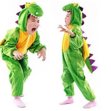 DCCKH6B Kid Unisex Halloween Cosplay Costume Animal Dinosaur Cosplay Jumpsuit Green Dtegosaurus Cosplay Set Disguise  For Carnival