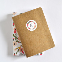 Personalized Notebook Set of 2 | Kraft Monogram Journal and Illustrated Floral Pocket Notebook: Blooming Wreath Collection