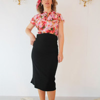 Retro sheer blouse, vintage style 1940's top, made to measure wrap top, retro blouse bright floral print, 40's bespoke swing blouse 1950's