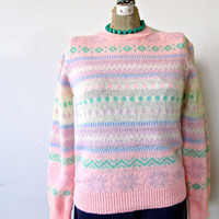 ugly christmas sweater. vintage 80s pastel fitted sweater. size small