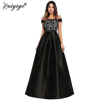 Ruiyige 2018 Women Evening Party Sexy Strapless Lace Patchwork Maxi Dress Backless Zip Elegant Dresses Long Prom Vestidos Female