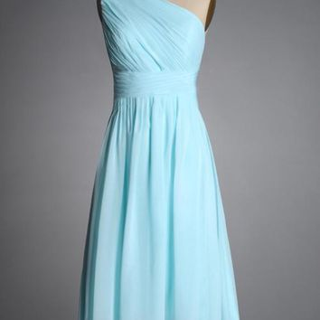 short light blue bridesmaid dresses one shoulder elegant new fashion 2015 mint green coral black plus size maxi in short