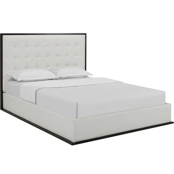 Madeline Queen Vinyl Bed Frame Cappuccino White MOD-5498-CAP-WHI