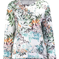 White Sweatshirt in Floral Print