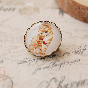 VIntage Kitten and butterfly Brooch pin with scallop bronze edging