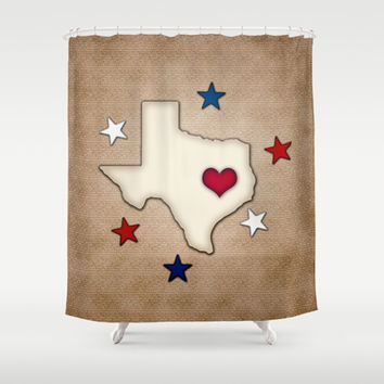 Texas Red Heart Shower Curtain by Tees2go