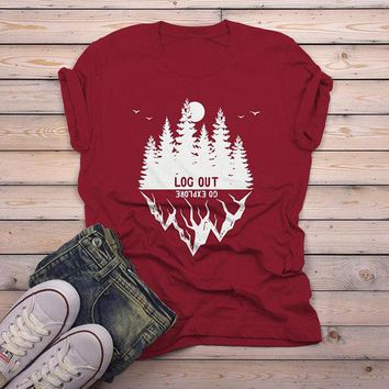 Men's Forest Hipster T-Shirt Camping Graphic Tee Log Out Shirts Mountains Explore TShirt
