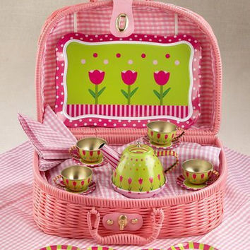 Children 18pc Tin Tea Set for 4 Girls - Tulips - Only 8 Sets Available