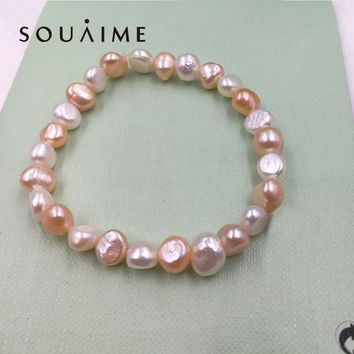 Hot Sale 100% Natural Pearl Charms Bracelet Elastic Rope White  Pearl Bracelet 5 Color Real Pearl Gift For Girl Friend